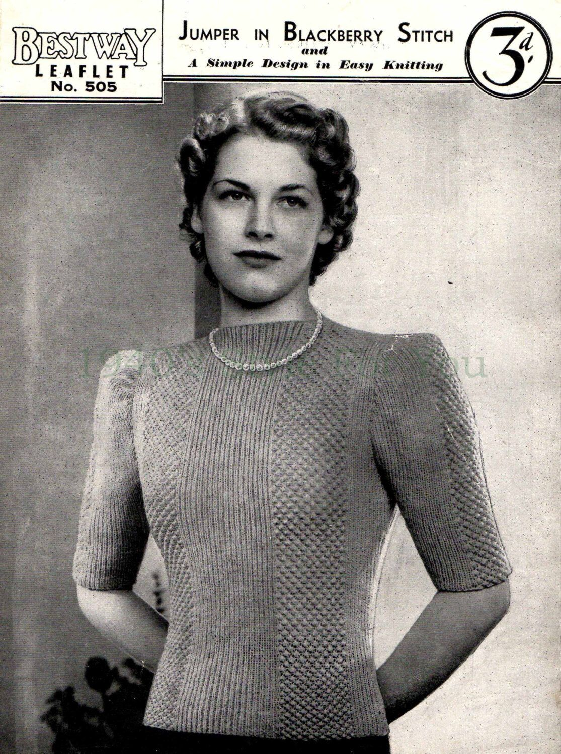 1940\'s Bestway 505 PDF Knitting Pattern - Jumper in Blackberry ...