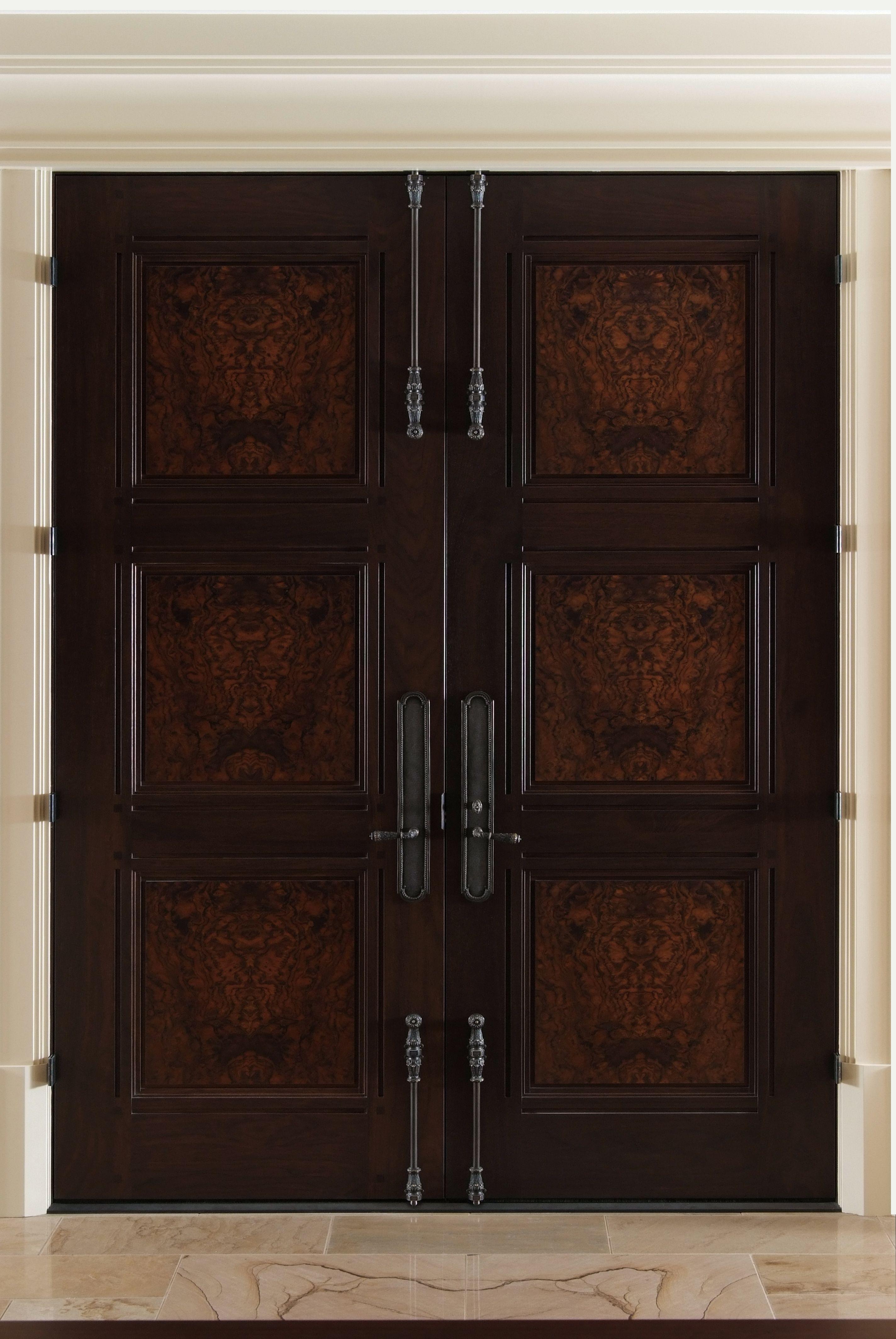 Custom 3 Panel Walnut Double Entry Doors With Burl Walnut Panels.