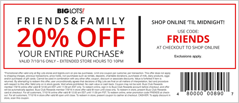20 Off Everything Sunday At Big Lots Or Online Via Promo Code Friends Shopping Coupons Big Lots Promo Codes