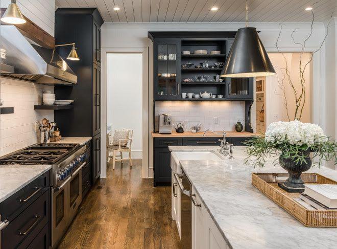 black and white farmhouse kitchen with shiplap backsplash and shiplap ceiling black white on farmhouse kitchen black and white id=60072