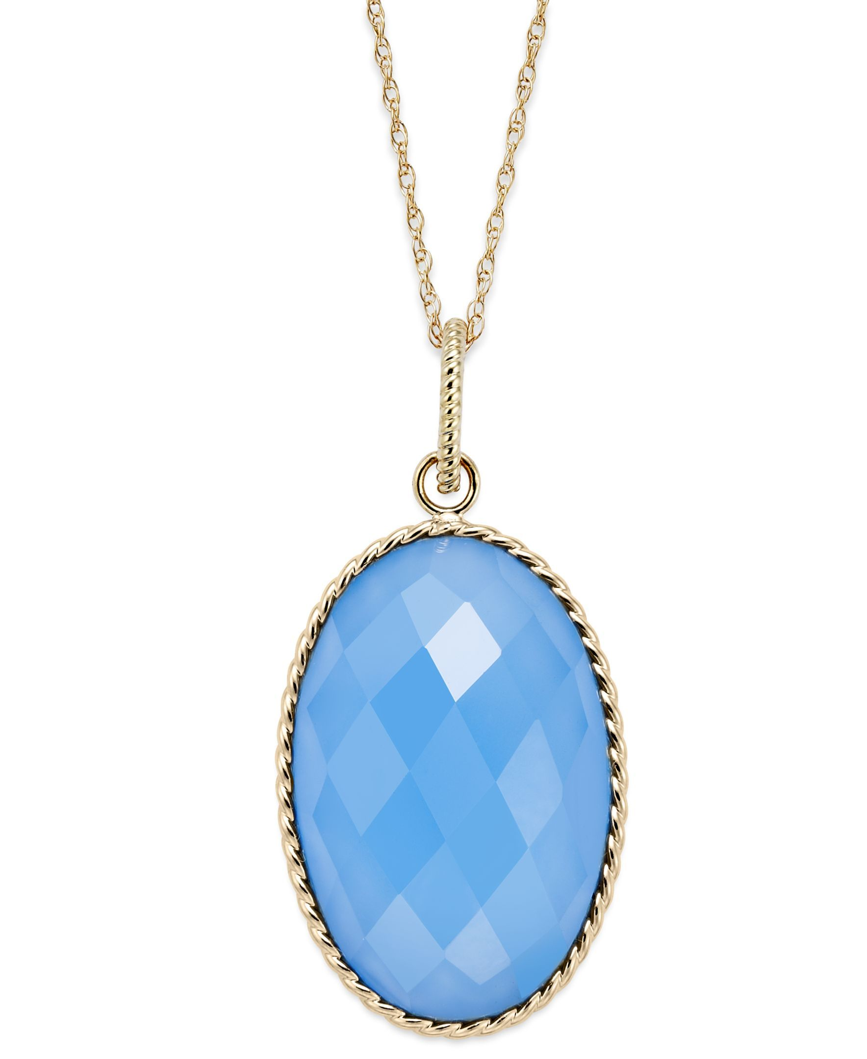 14k Gold Necklace, Faceted Oval Blue Chalcedony Pendant (10 ct. t.w.)