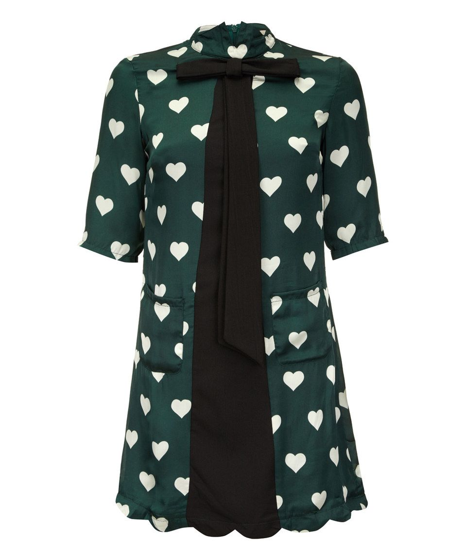 This Green & White Heart Bow-Accent A-Line Dress by Yumi is perfect! #zulilyfinds