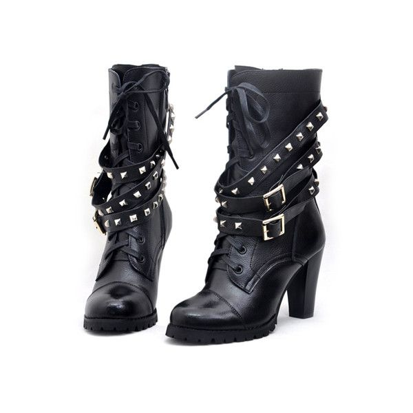 Rivets Lace Up Black Ankle Boots ($115) ❤ liked on Polyvore featuring shoes, boots, ankle booties, heels, botas, heeled boots, black lace up boots, lace-up ankle boots, lace up heel booties and black leather bootie