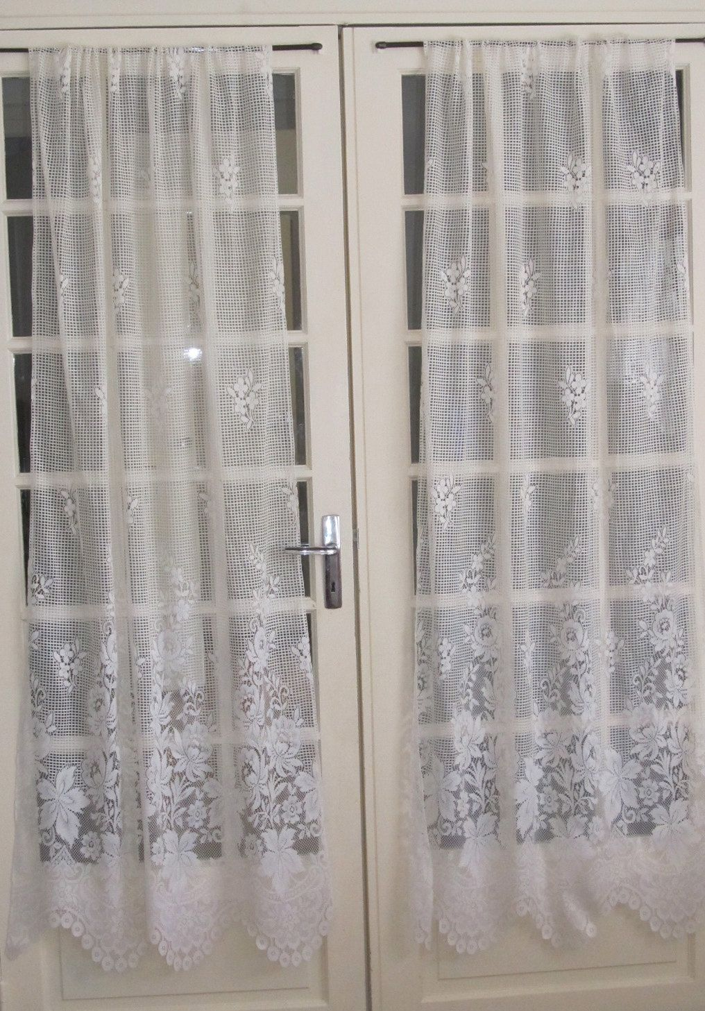 Ivory French Door Lace Curtains Ecru Lace By Hatchedinfrance 55 00 French Door Curtains Curtains French Doors