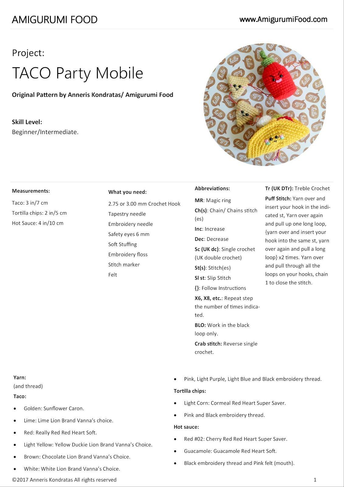 Amigurumi Food: Taco Party Mobile Free Crochet Mobile Amigurumi Food ...