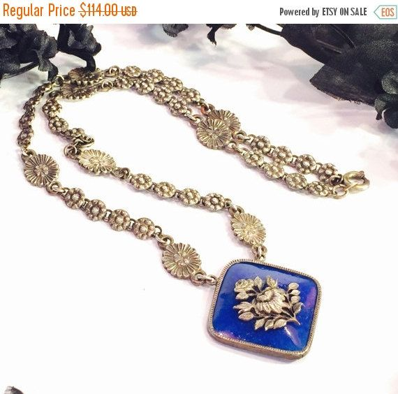 Lovely Art Nouveau Art Deco Czech Lapis Blue Art Glass Floral Motif Vintage Antique Necklace Art Nouveau Jewelry