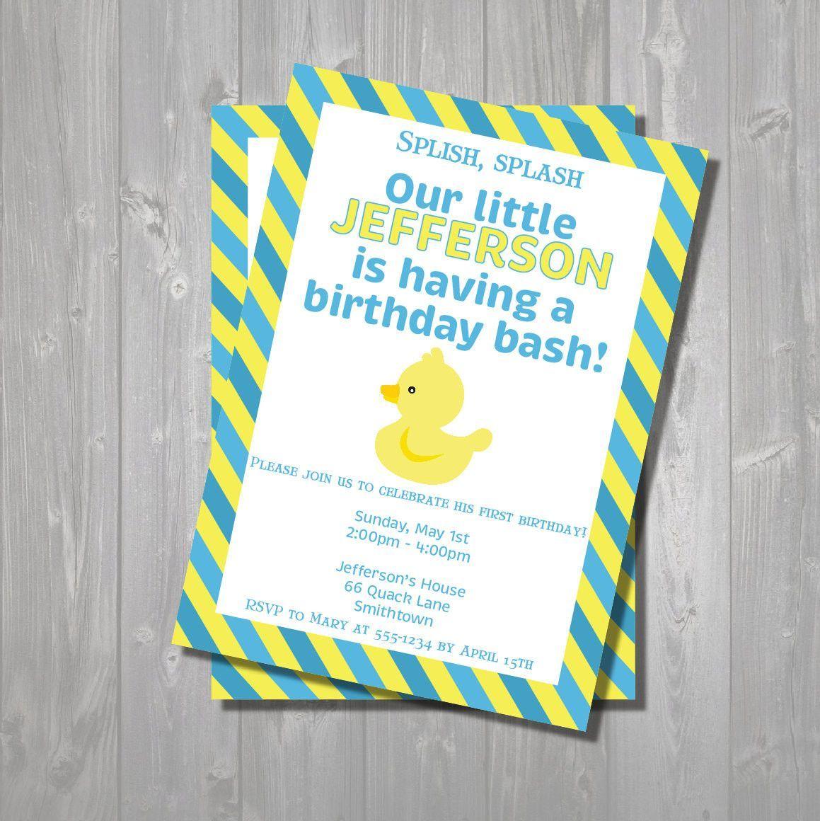 Rubber Duck Birthday Party Invitation Yellow Duck Invitation Digital Printable Invite Rubbe Rubber Duck Birthday Duck Birthday Birthday Party Invitations
