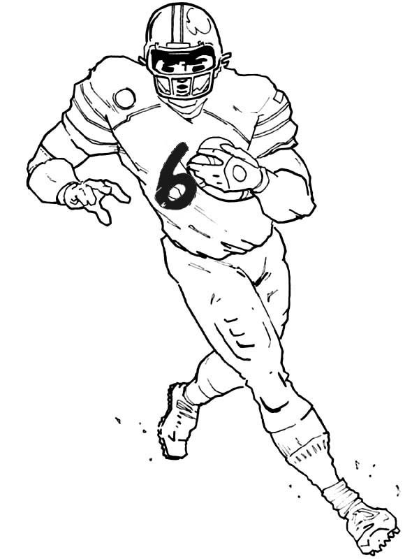 One Of The Eleven Players From American Football Team Is Running For Touchdown Action Packed Coloring Page