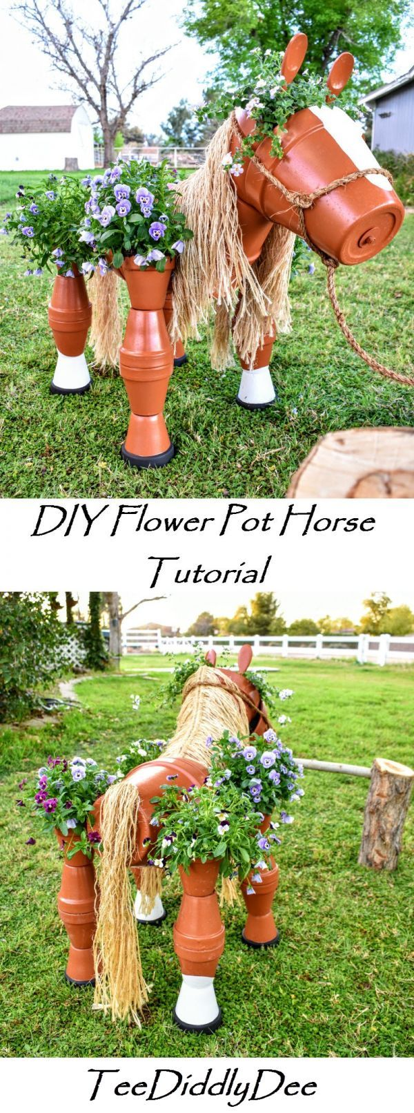 DIY Clay Horse Flower Pot Tutorial - Fun, Whimsical and great for Equestrians