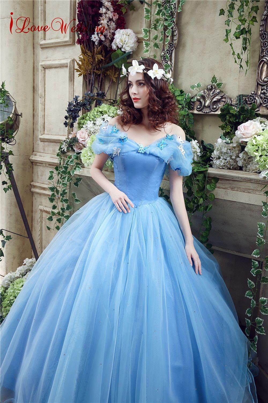 505e285c8d6c5 Vintage Blue Ball Gown Prom Dress New Movie Princess Cinderella ...
