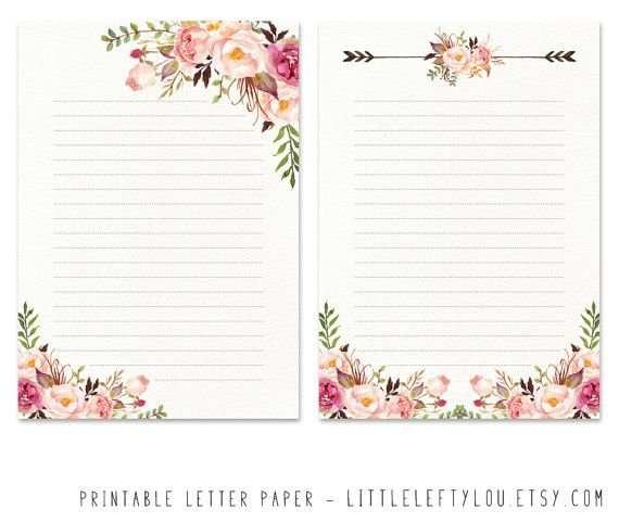 Printable Letter Paper Floral 2, stationery, writing, letter