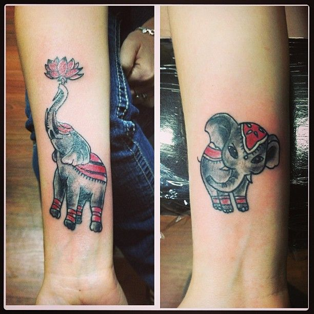 40 Adorable Mother Daughter Tattoo Inspirations: Mother Daughter Elephant Tattoo