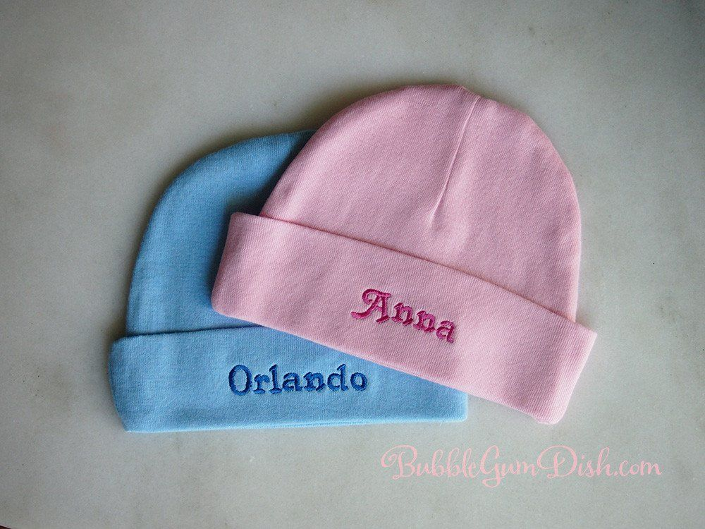 Personalized Newborn Baby Hat Custom Embroidery with Name