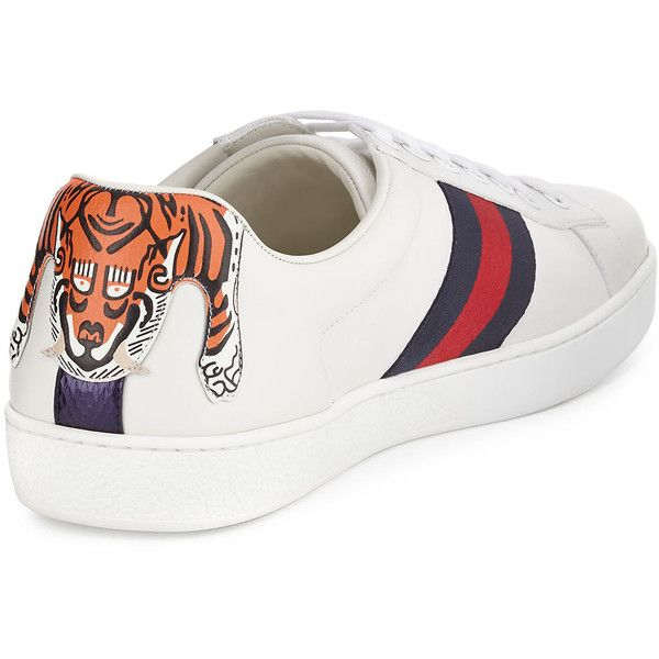 0c359e11ad0 Gucci New Ace Hanging Tiger Leather Low-Top Sneaker ( 640) ❤ liked on  Polyvore featuring men s fashion