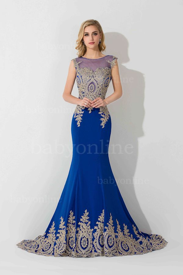 08cb61e55c2e 2016 Lace Applique Royal Blue Mermaid Evening Gowns with Gold Lace Applique