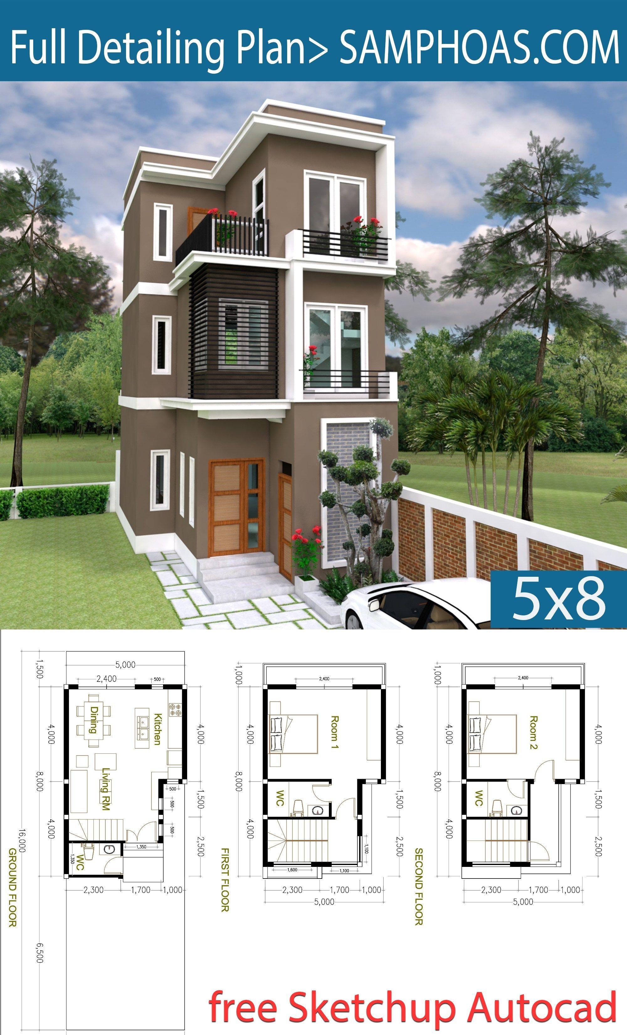 2 Bedroom Tiny Home Plan 5x8m Samphoas Plan Small Modern House Plans House Plans Model House Plan