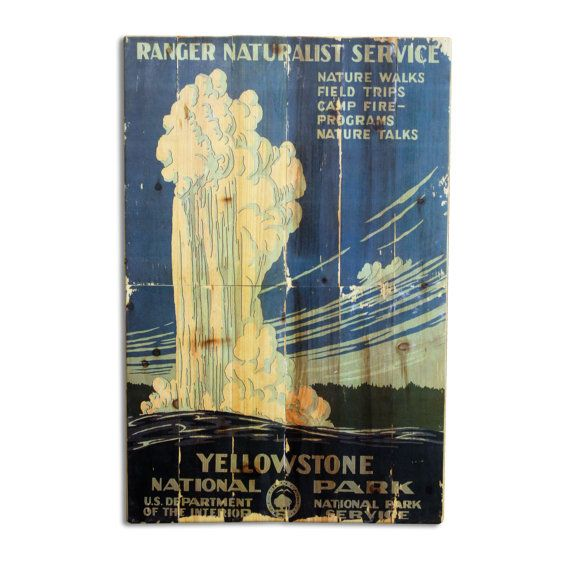 Large Vintage Yellowstone National Park Poster Wall Art on Solid ...
