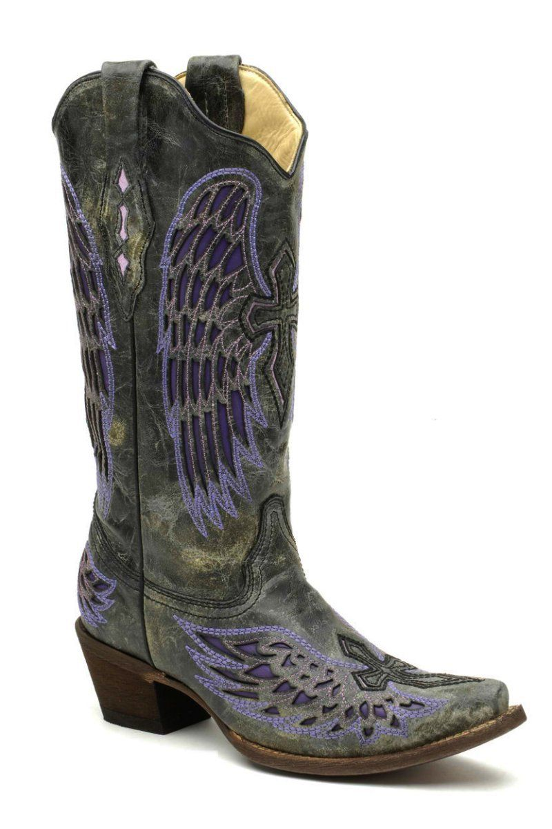 05611abcf06 Corral Boots - Womens Corral Black Purple Cross Wings Cowboy Boot ...