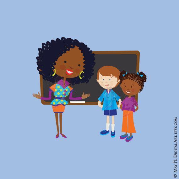 Cute School Clipart - Teacher Children Listen Clipart ...
