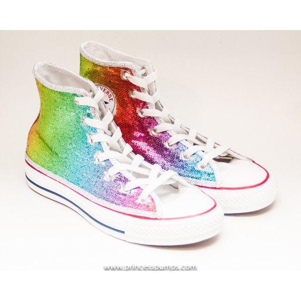 e7f113de2274 Sequin Rainbow Multi Colors Custom Canvas Converse Hi Top Sneakers... (170  CAD) ❤ liked on Polyvore