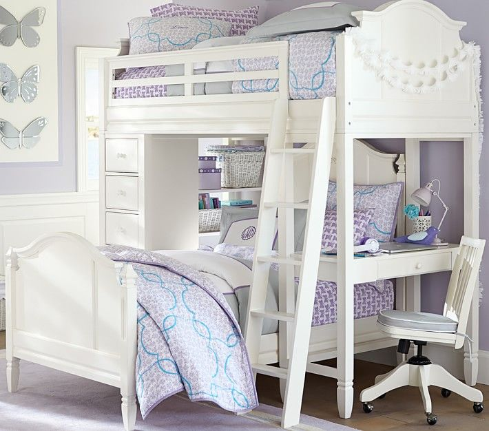 Pottery Barn Madeline Bunk System: Madeline Bunk System With Twin Bed Set With Desk