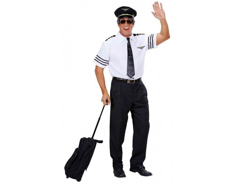 Kapitän Kostüm Pilotenkostüm Pilot Hemd Mütze Krawatte JGA Piloten Anzug Uniform