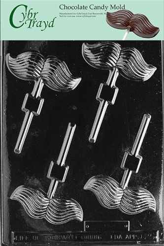 Cybrtrayd D025 Mustache Lolly Chocolate Candy Mold with Exclusive Cybrtrayd Copyrighted Chocolate Molding Instructions 4 cavities, dimensions per cavity: 1 x 3-1/2 x 1/2 deep. Cavity capacity: 0.7 oz. of chocolate. Uses: Chocolate, soap, plaster. Made in USA from FDA-approved PETG Plastic. To package your lollipops, please use Cybrtrayd's Supply Kit (ASIN#B00CRHGZH6).  #CybrTrayd #Kitchen