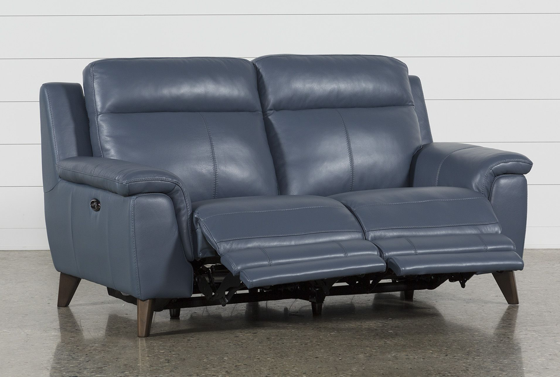Superb Moana Blue Leather Dual Power Reclining Loveseat With Usb Machost Co Dining Chair Design Ideas Machostcouk