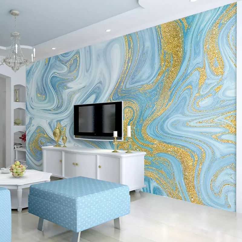 Custom 3d Wallpaper Sprinkled Gold Blue Texture Fashion Stripes