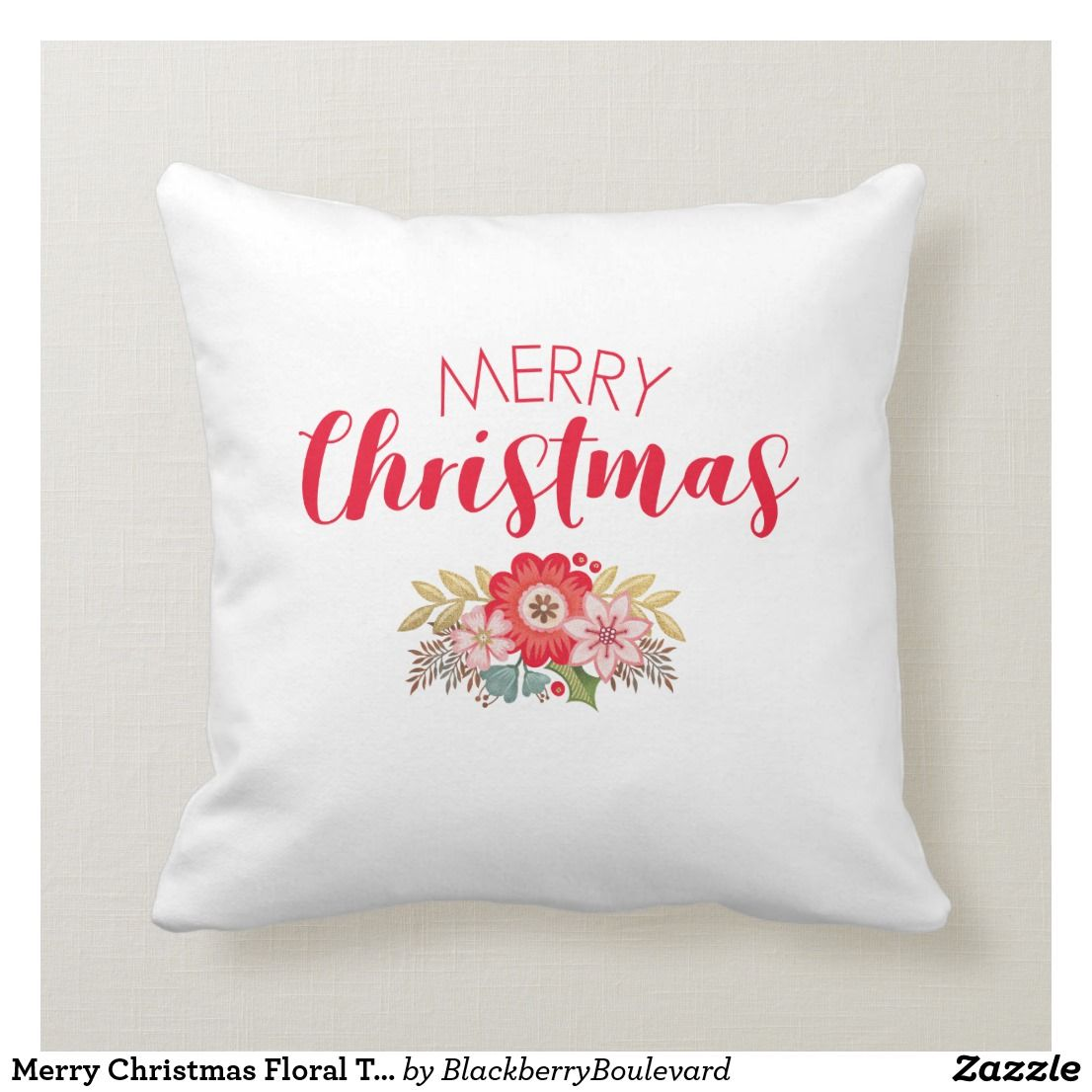 Red White Floral Merry Christmas Throw Pillow Zazzle Com Throw Pillows Christmas Floral Throw Pillows Throw Pillows