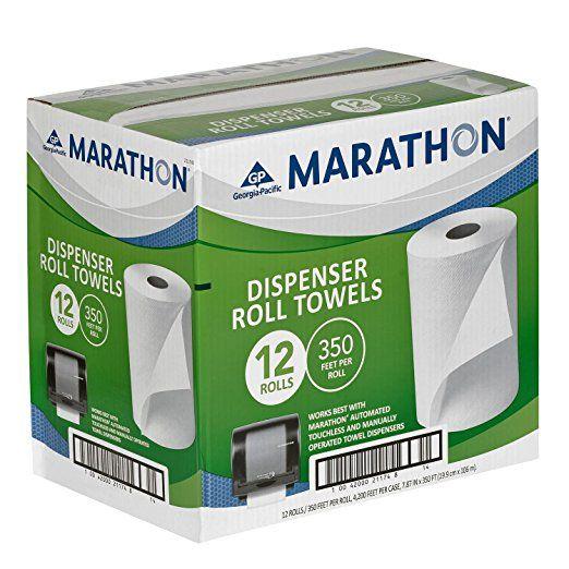 Marathon Dispenser Roll Paper Towels 350 Ft Rolls 12 Rolls How To Roll Towels Towel Dispenser Paper Towel