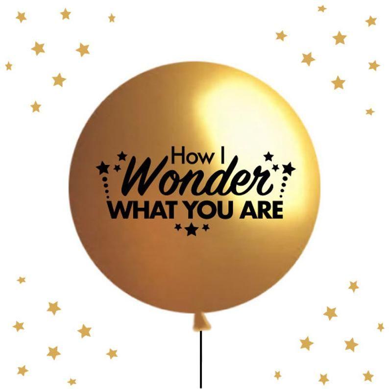 Twinkle Twinkle Little Star Gender Reveal Balloon How I Wonder Etsy Gender Reveal Balloons Twinkle Twinkle Little Star Gold Balloons