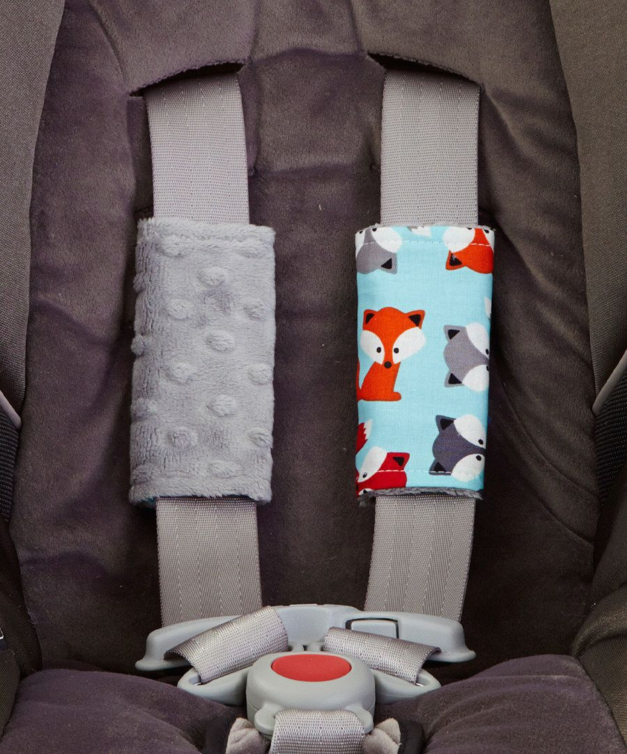 Look at this Lolly Gags Turquoise Fox & Silver Minky Reversible Car Seat Strap Covers on #zulily today!