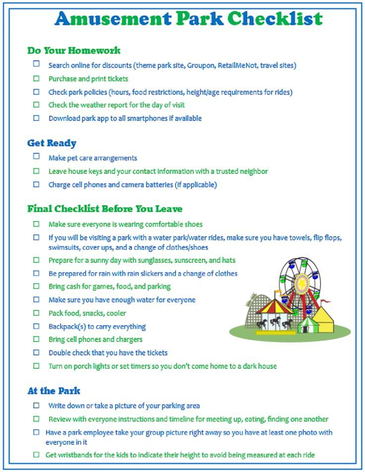 Free Printable Amusement Park Checklist To Help Make A Fun Day