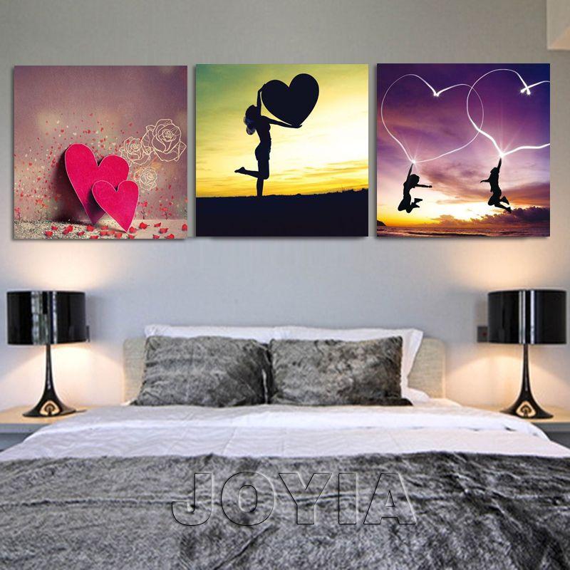 Cheap 3 unidades gran amor rojo corazón lienzo arte de la pared de ...