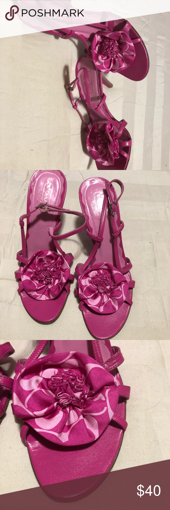 "dbc974122c330c Coach Sandals This is a gorgeous pair of Coach sandals in a Fuchsia color.  They are in excellent used condition. They are leather with a Coach  signature ""C"" ..."