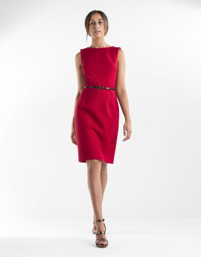 45f3b1ac3da Vestido recto rojo de mujer