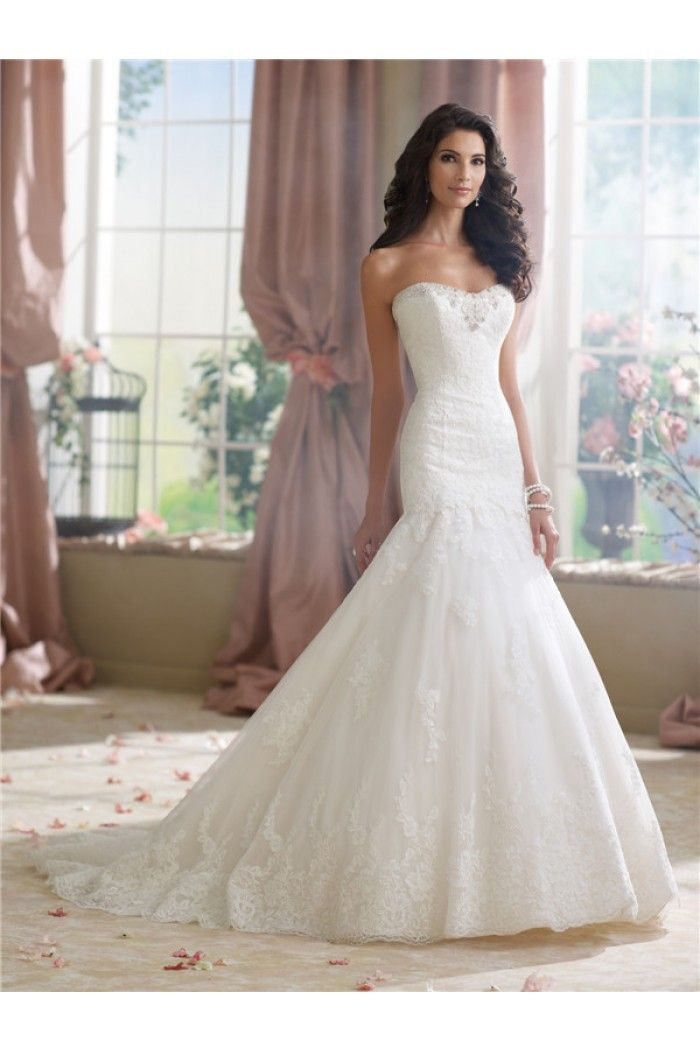 Trumpet Mermaid Strapless Low Back Tulle Lace Wedding Dress Court Train