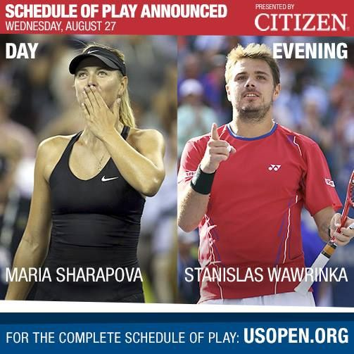 Usopen Day 3 Former Us Open Champion Maria Sharapova Australian Open Champion Stanislas Wawrinka On Maria Sharapova Tennis Championships Tennis Tournaments