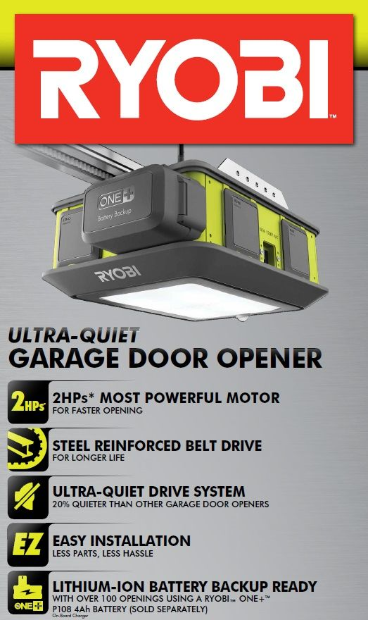 Ryobi Ultra Quiet Garage Door Opener Gd200 The Home Depot Homesecuritysystemnest Quiet Garage Door Opener Diy Garage Plans Garage Door Opener