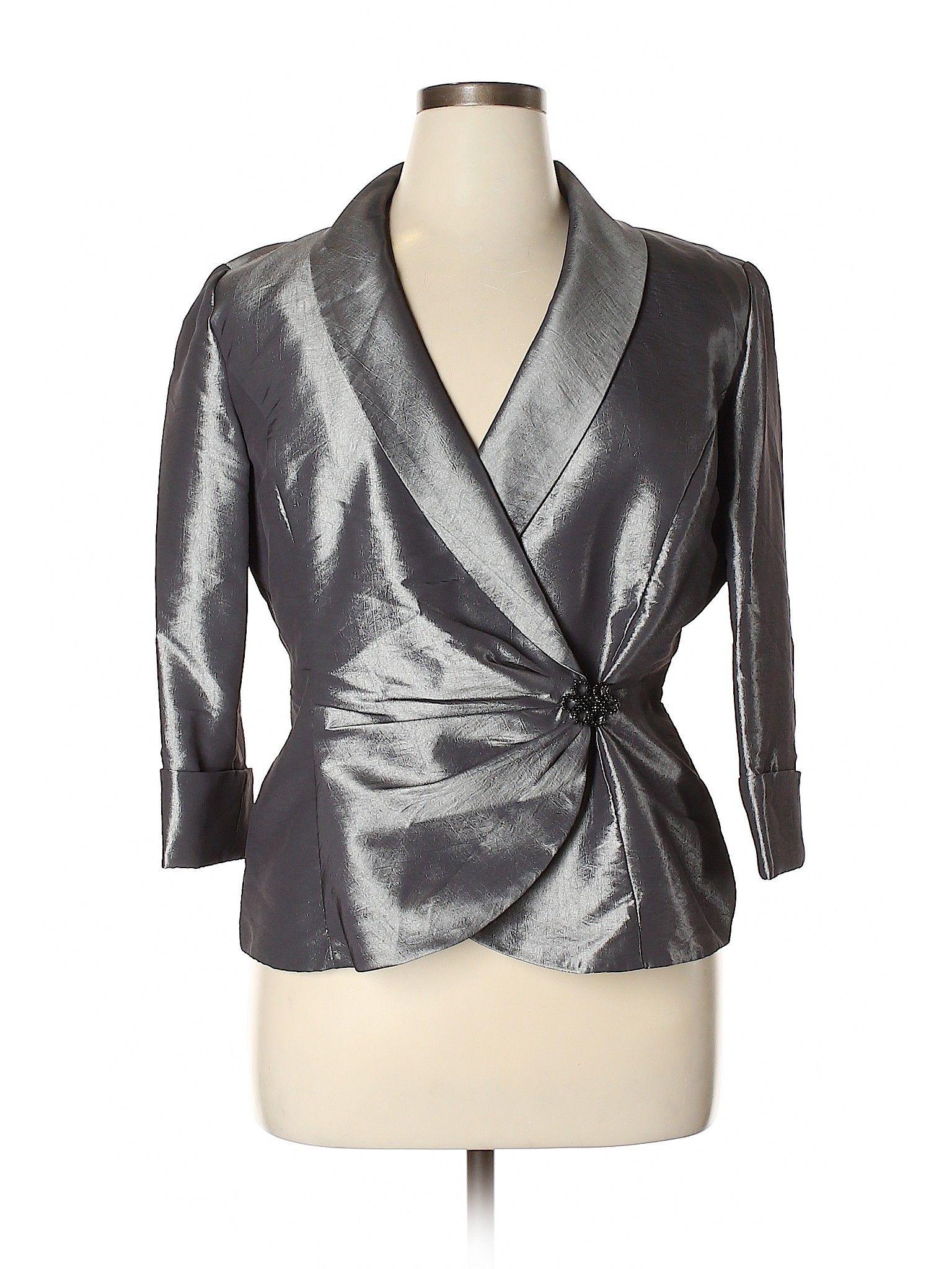 Alex Evenings Blazer Gray Solid Women's Jackets