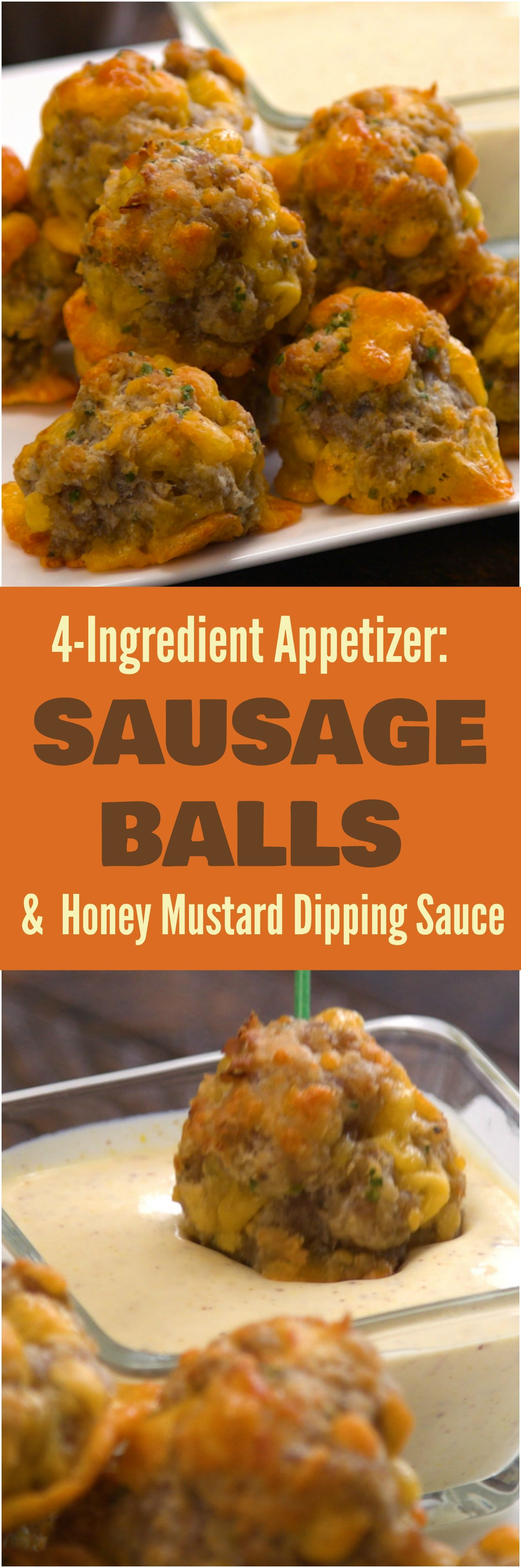 Sausage Balls with Creamy Honey Mustard Dipping Sauce