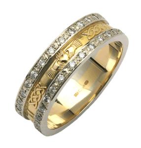 87c8b1827253dd 14K Gold Pavé Diamond Set Corrib Claddagh Wedding Band with White Gold Trim