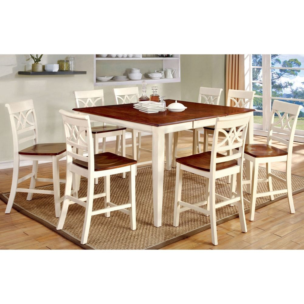 Furniture Of America Betsy Joan Duo Tone 9 Piece Counter Height Table Set |