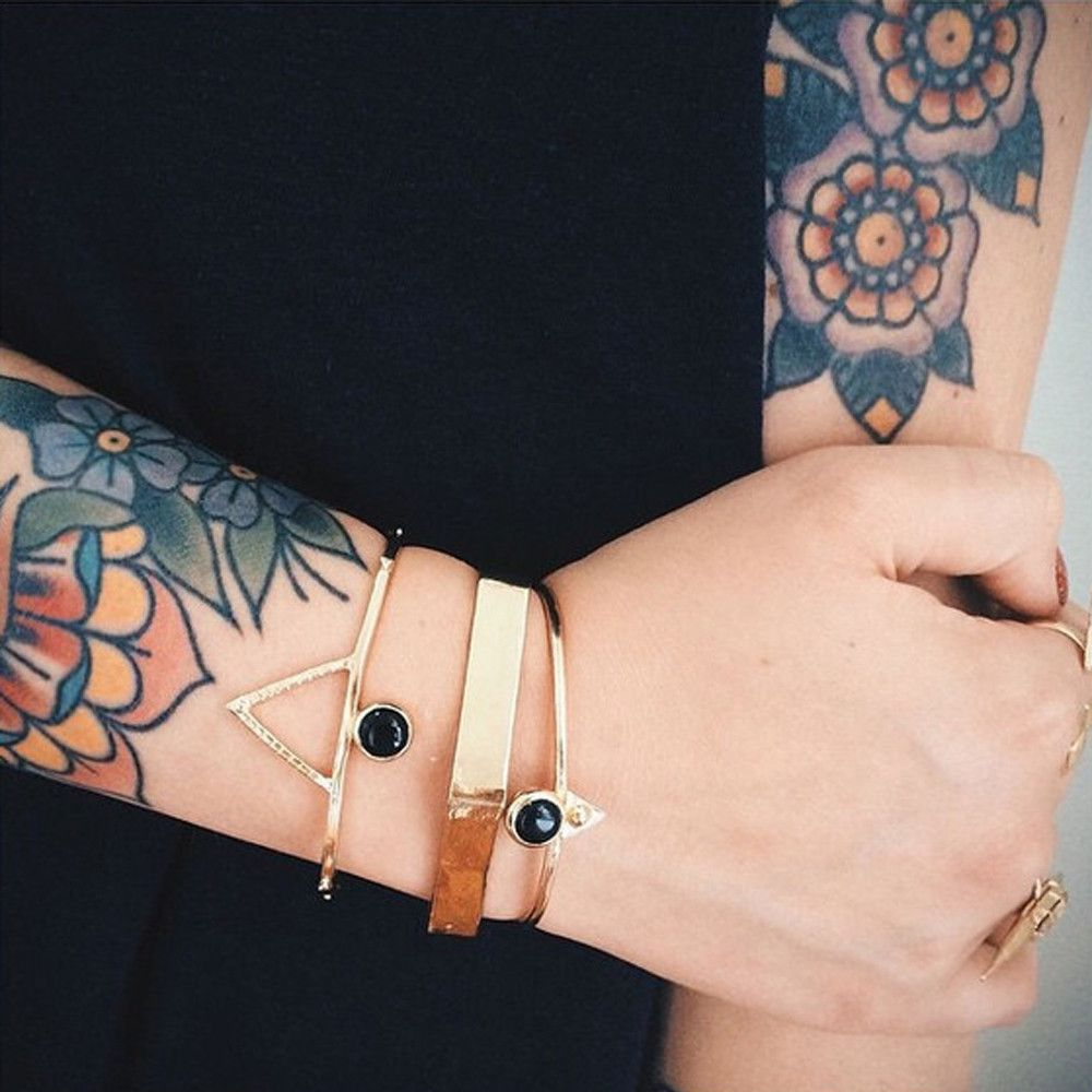 Bing Bang gold and onyx cuffs look so good stacked in multiples  | @bingbangnyc
