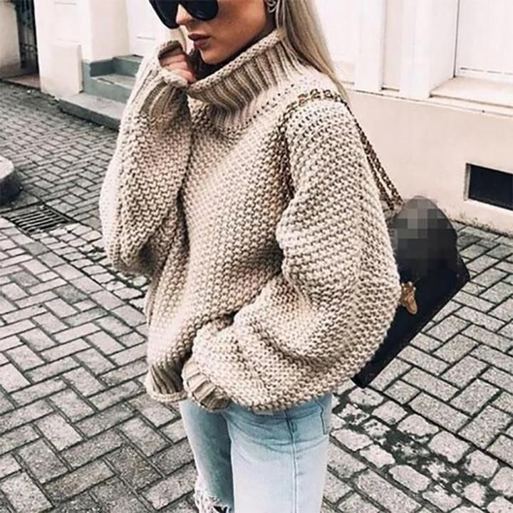 Chunky Knit Turtleneck Sweater - Orange / S