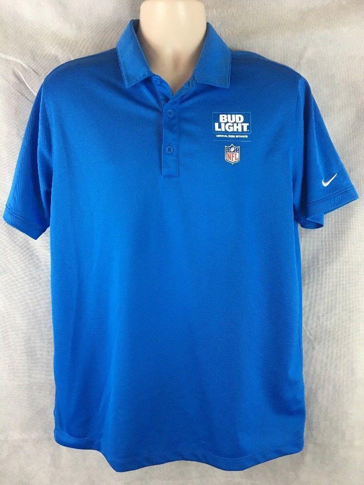 293901e3 Nike Blue Golf Dri-Fit NFL Bud Light Polo Golf Shirt Size Large Short  Sleeve #Nike #PoloRugby