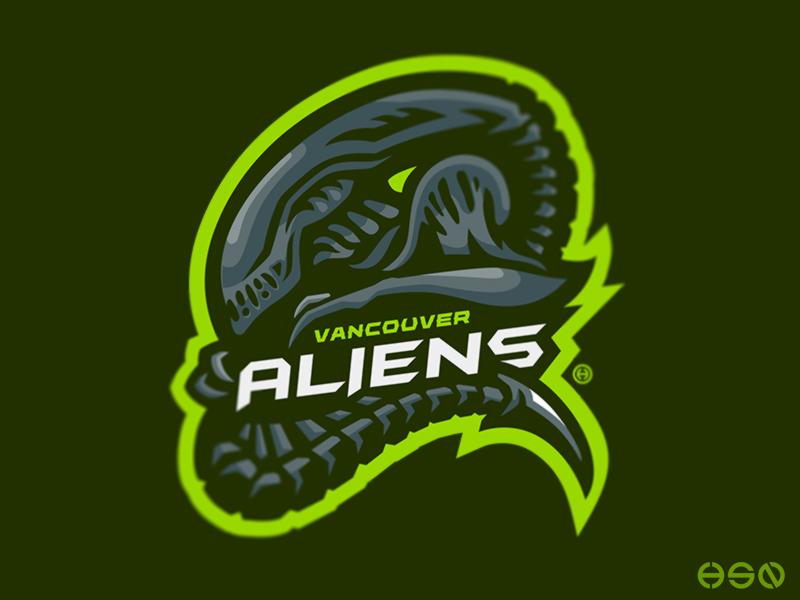 Vancouver ALIENS Mascot Logo | Logo illustration, Sports ...