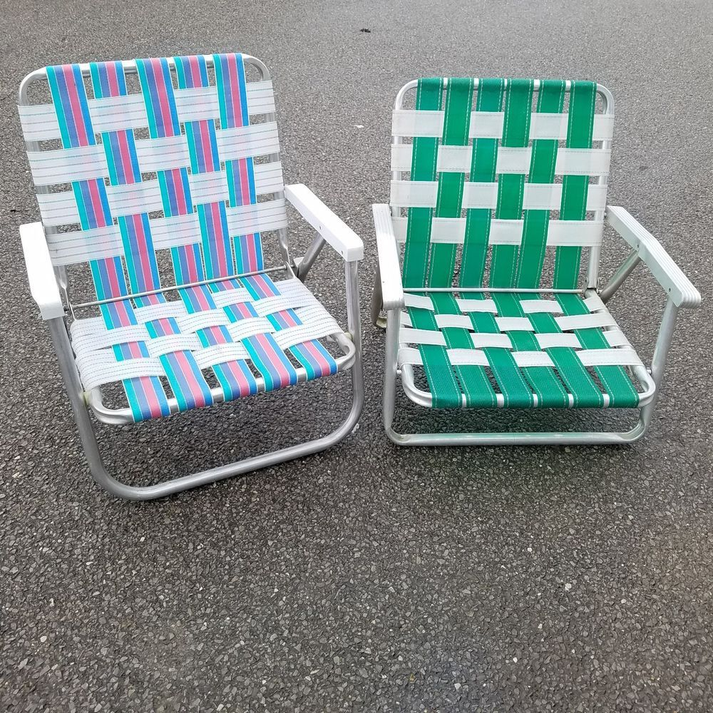 Details About Vintage Matching Pair Of Aluminum Folding