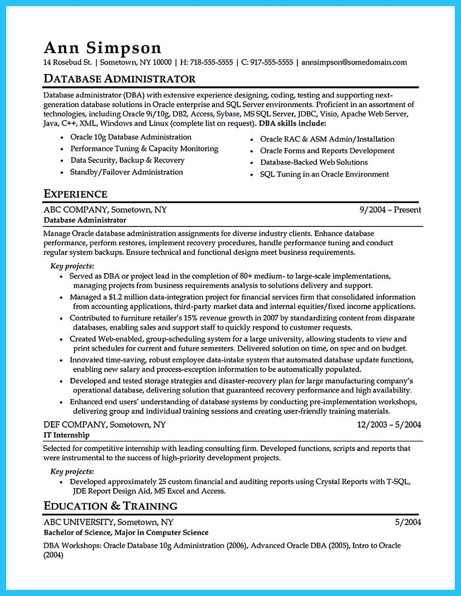 Cool High Impact Database Administrator Resume To Get Noticed Easily